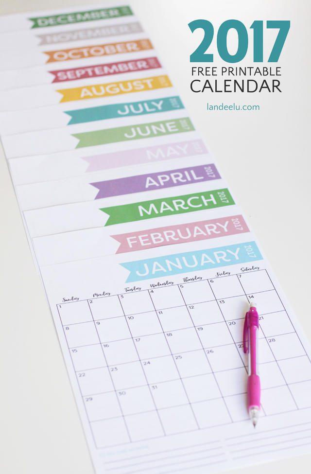 Calendario 2017 con etiquetas de colores