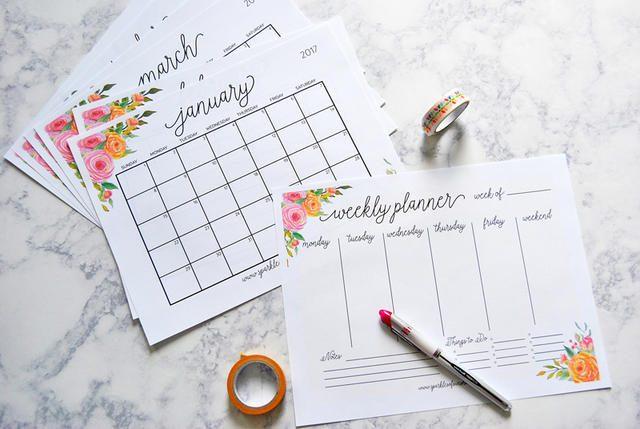 Calendario 2017 con diseño floral