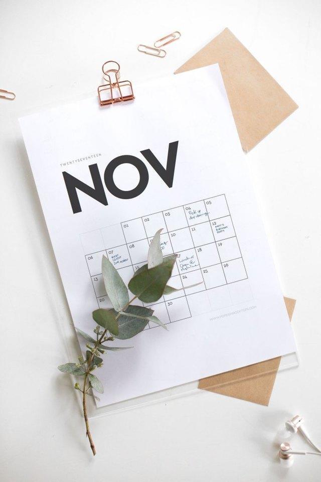 Calendario 2017 imprimible y estilizado
