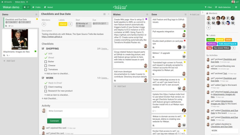 wekan el organizador de tareas pendientes de código abierto