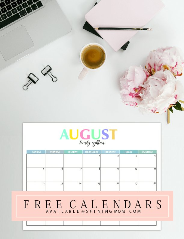 Colorido calendario de 2018 para imprimir