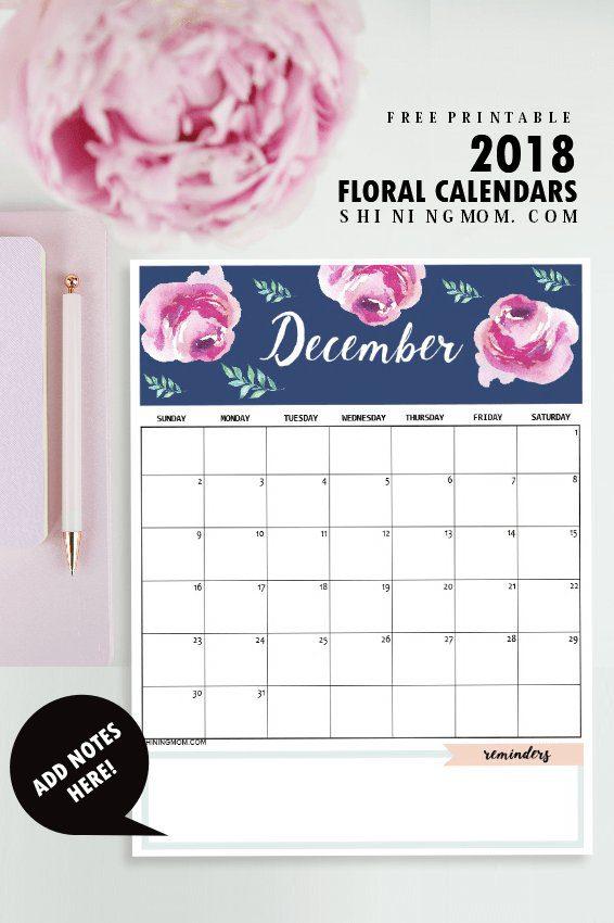Calendario 2018 bonito listo para imprimir
