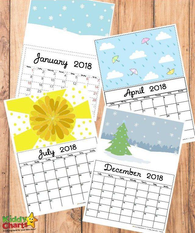 Calendario 2018 para niños