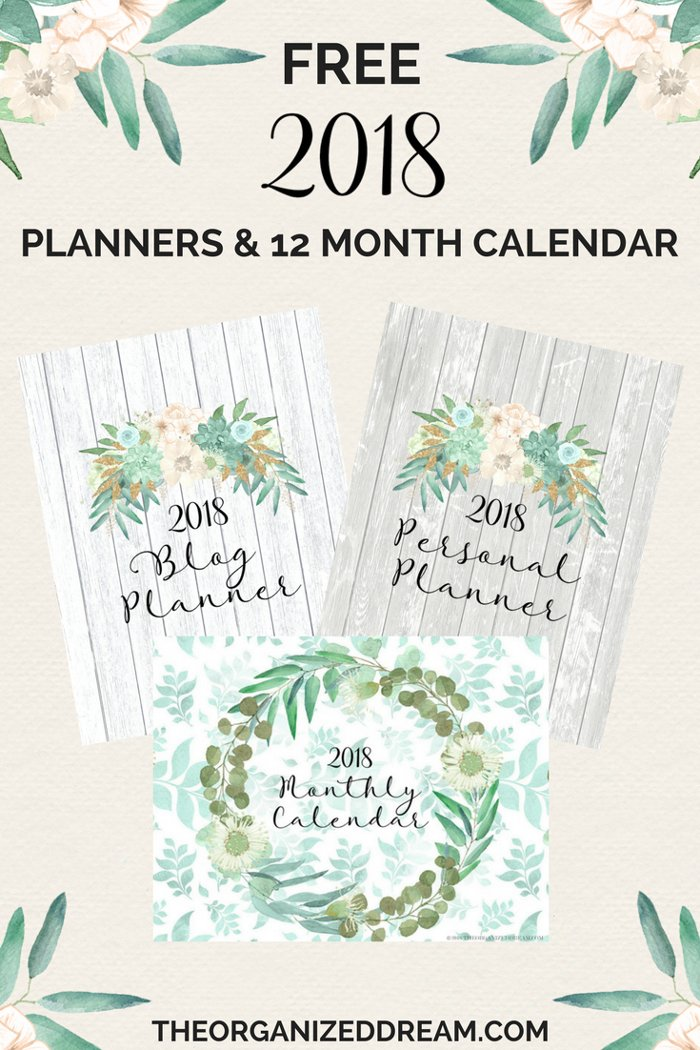 Calendario 2018 con planificador semanal